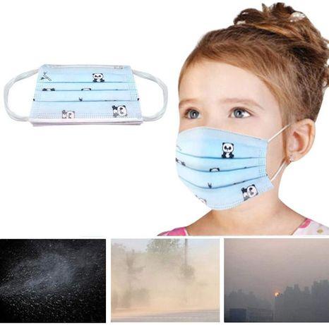 Маска детская с принтом 3-слойная с фиксатором для носа (упаковка 50 ш