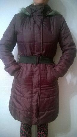 płaszcz zimowy fioletowo-bordowy