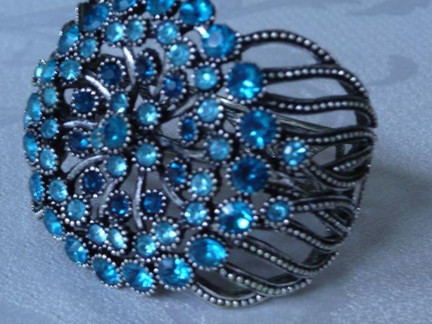 Bransoleta srebro szafir niebieski błękit szeroka