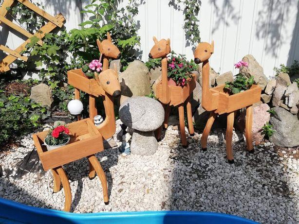 Doniczki drewniane jelonki ogrodowe ozdoby