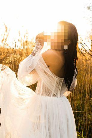 Zwiewna Suknia ślubna styl Boho Piękna warto okazja