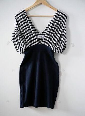 Elegancka marynarska krótka letnia sukienka w paski marki Zara M