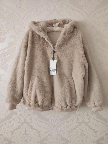 Zara nowa dwustronna kurtka futrzana z kapturem