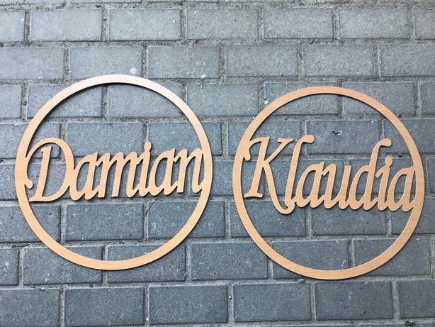 Koła z imionami Damian i Klaudia