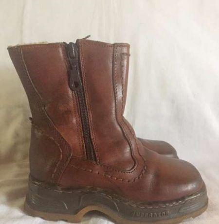 Ботинки сапоги кожаные зимние 27 размер натуральный мех