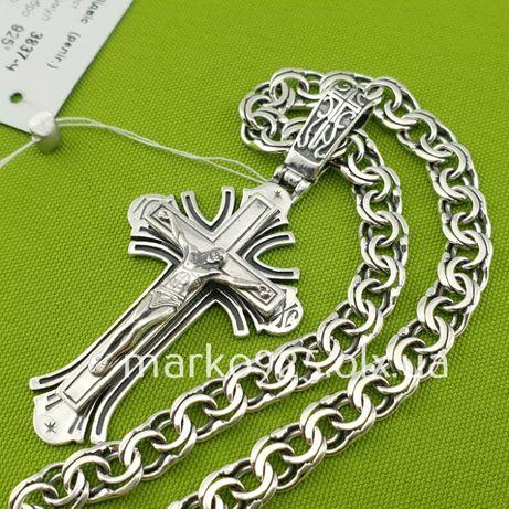Широкая серебряная цепочка с крестиком. Мужской кулон с эмалью и цепь