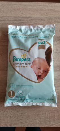 Подгузники Pampers premium care (2-5 кг)  и влажные салфетки