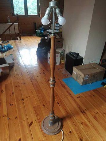 Lampa drewno+metal