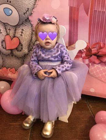 Лавандовое платье для малышки на годик
