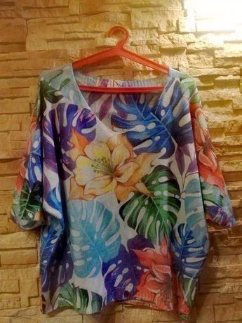 Sweter bluzka liście S M L XL tunika ażurkowa jesień nowa