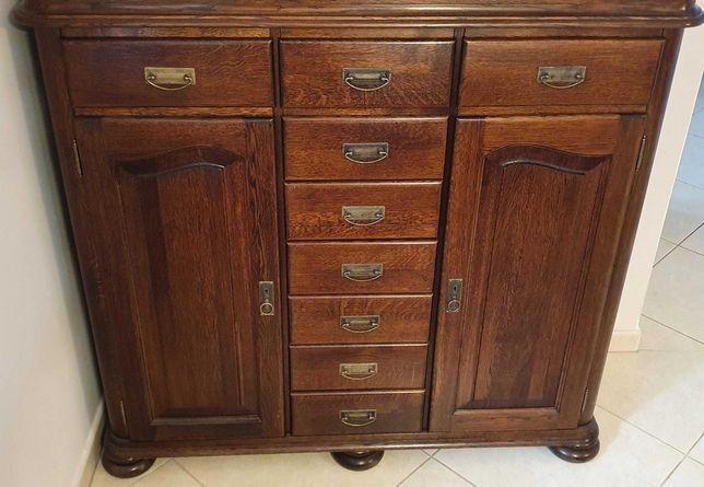 Meble do salonu drewniane Lena-stan idealny-dwie komody+witryna+ława