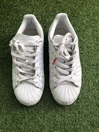 Buty superstar adidas skóra białe wężowe 38 all white