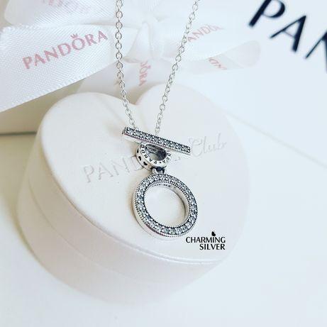"""Колье """"Логомания"""" с двойным кольцом и T-подвеской 399039C01 Pandora"""