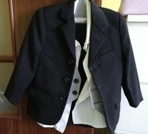 Garnitur rozm. 86 - 4el. - marynarka, spodnie, koszula, kamizelka