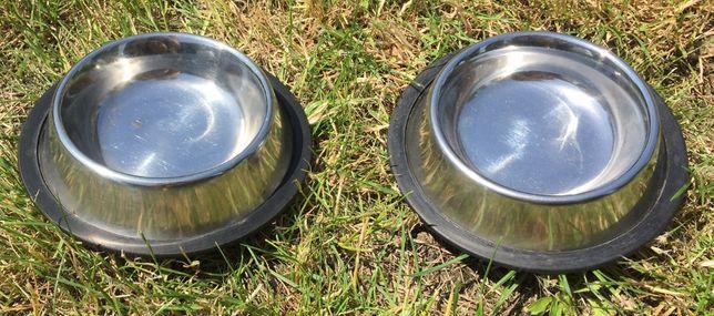 Miska stalowa (srebrna) na gumie dla psa, kota na karmę – 15,5 cm