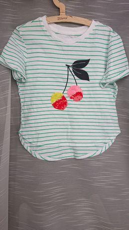 Gap 110 t-shirt bluzka z aplikacją w paski zielone wisienka cekiny