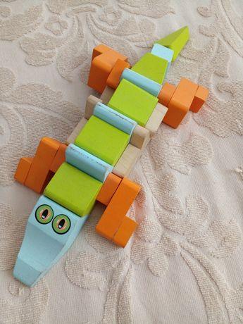 Крокодил cubika деревяный