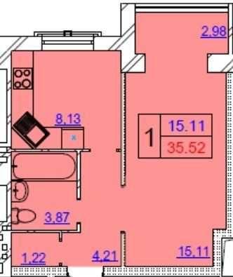 Продам 1 кімнатну квартиру на Озерній, Хмельницький