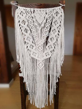 Makrama na ślubne krzesło ślub boho