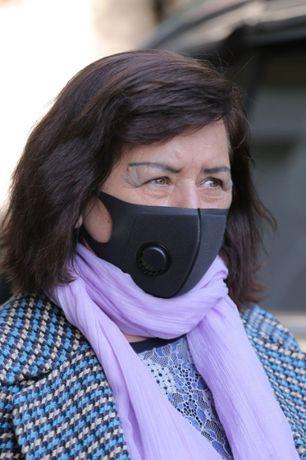 маска черная многоразовая с клапаном GREEND MASK не неопрен!