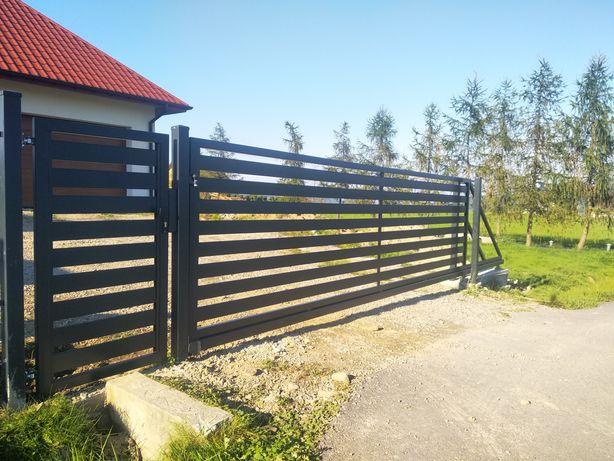 Brama przesuwna ocynk + RAL7016