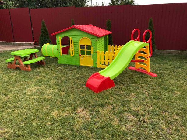 Детский садовый домик Mochtoys из туннелем+ Горка +столик и лавочки
