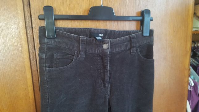 Sztruksowe spodnie H&M 34 w talii 72 cm grafitowe. Nowe bez metki!
