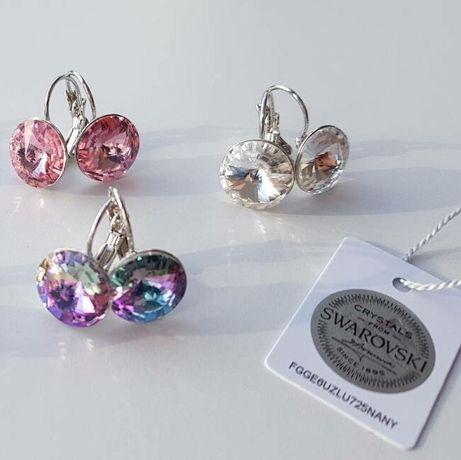 Swarovski круглые сережки серьги подарок девушке жене подруге маме
