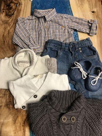 Zestaw ubranek rozmoar 68. Jeansy, koszula, buciki, 3 sweterki