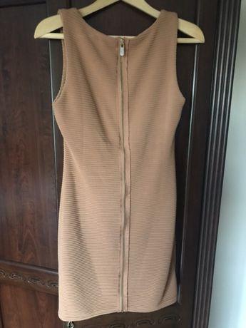 Śliczna sukienka brązowa karmelowa miodowa prążki suwak mini S M