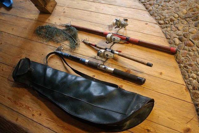 wędki kołowrotki stare etui zestaw wędkarski  Dam