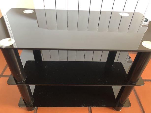 Movel TV em vidro temperado preto