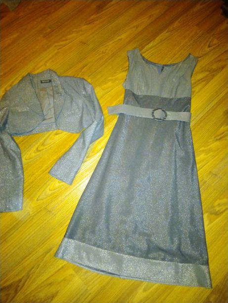 Sukienka wyjściowa srebrno szara M 38