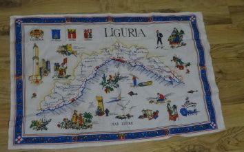 Obrus, makatka, serwetka z mapą Liguria Włochy 90x60cm Bawełna 100%