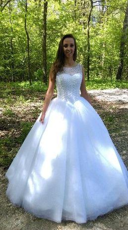 OKAZJA! R34-36 Bajeczna Suknia Ślubna Princess Księżniczka