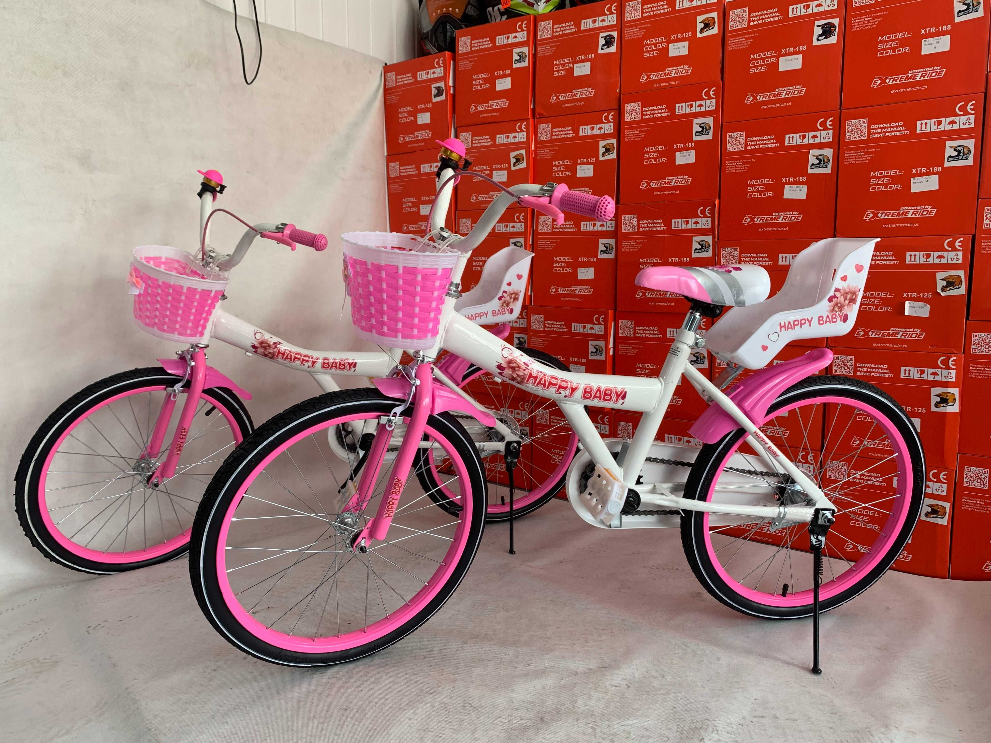 Rowerek, rower 20 cali Happy Baby, koszyk, fotelik dla lalek