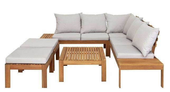 Meble Ogrodowe z drewna Duży Narożnik + Stolik + 2 Pufy + Poduchy