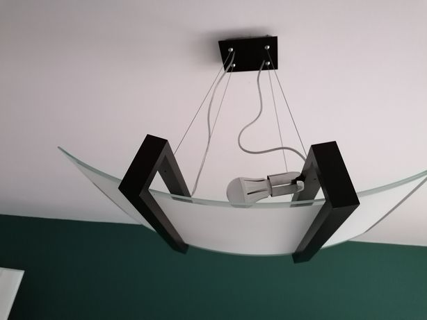 Lampa sufitowa - drewno szkło