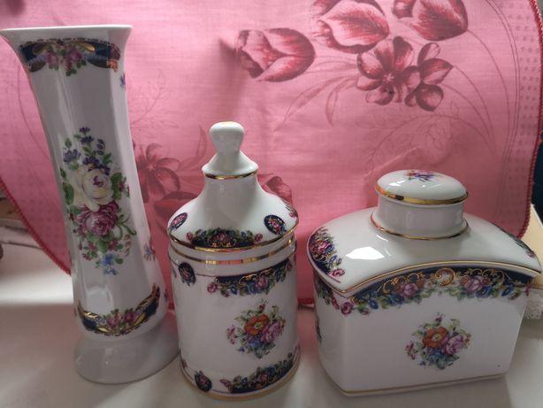 Conjunto três peças porcelana