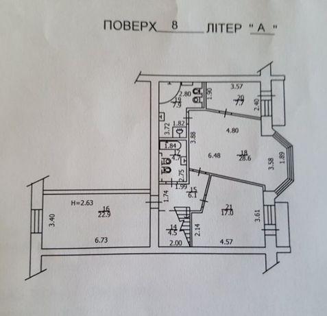 Квартира 100м Подол, ул. Введенская 29/58, 8 этаж