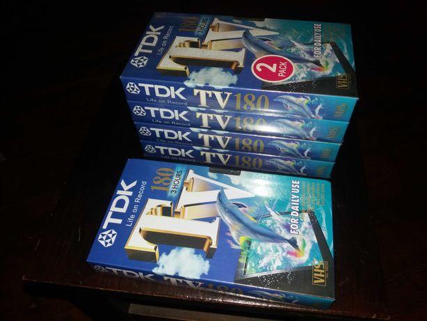 5 TDK Video cassetes VHS novos e celados.