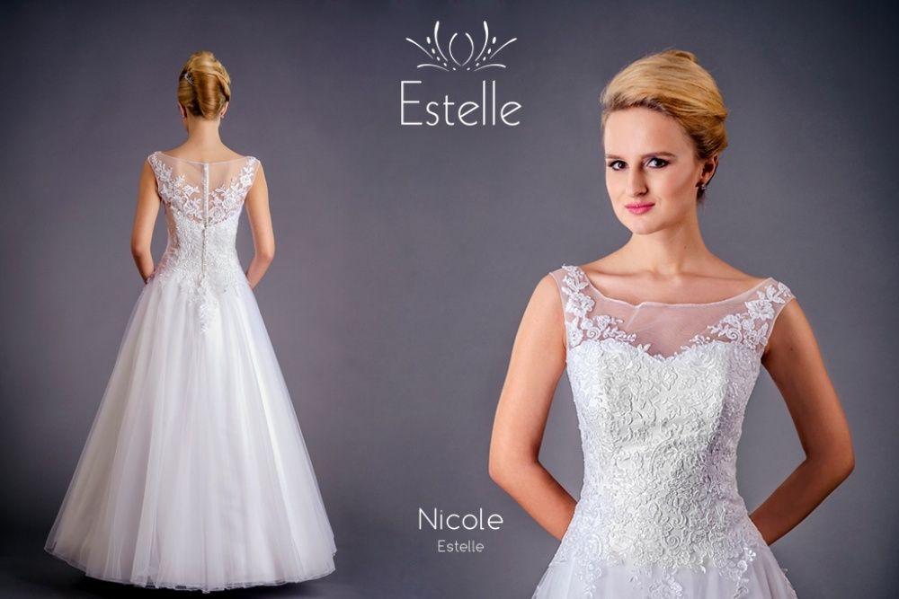 Suknia ślubna Nicole, rozm.38, biała; lekka, wygodna GRATIS halka Lublin - image 1