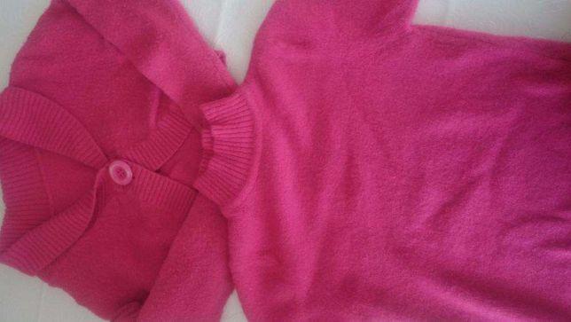 Conjunto de blusa e casaco em caxemira