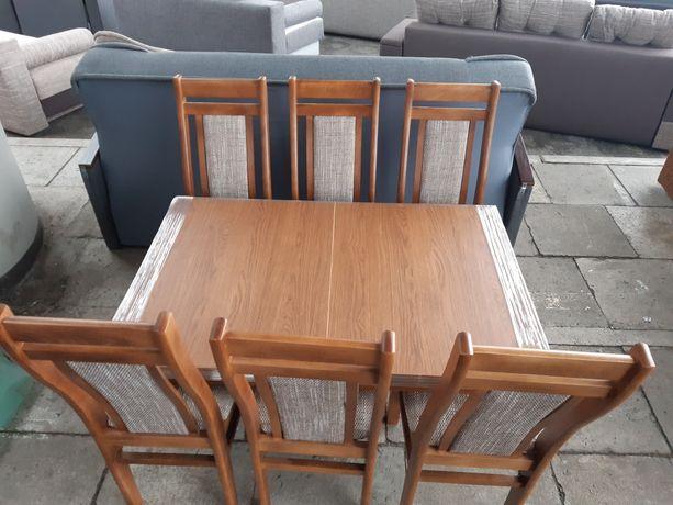 Nowy Stół rozkładany 120x80+40 oraz 6 Krzeseł w Komplecie