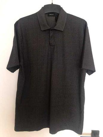 Koszulka polo męska claiborne XL elegancka grafitowa w jodełkę z krótk