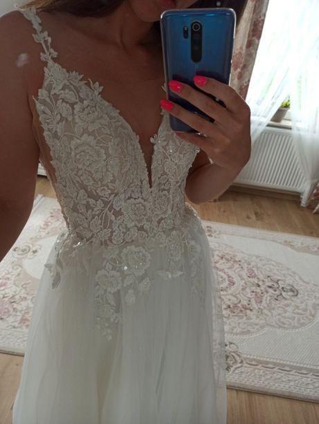 Suknia ślubna Świtezianka rozmiar 36 38 kolor ivory brokatowa tiulowa