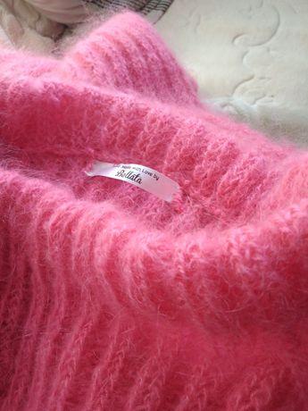 Sweter moher cukierkowo różowy