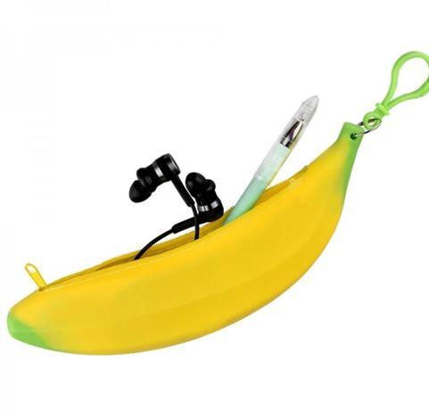 Силиконовый пенал банан. Идея на подарок для девочки. Канцтовары