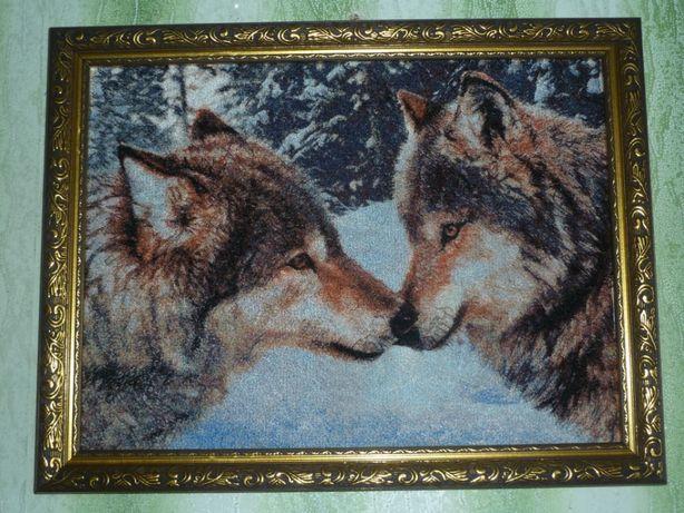 Вышитая картина Волки