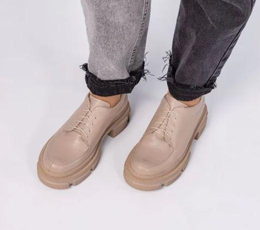 Кожанные туфли брогги лоферы ботинки